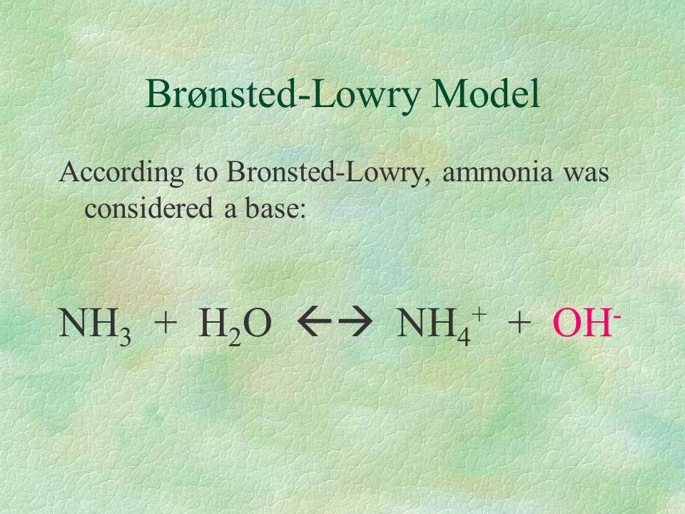 Brønsted-Lowry Model NH3 + H2O  NH4+ + OH-