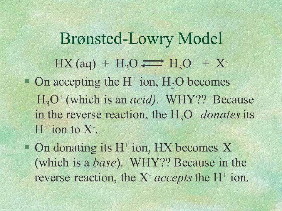 Brønsted-Lowry Model HX (aq) + H2O H3O+ + X-