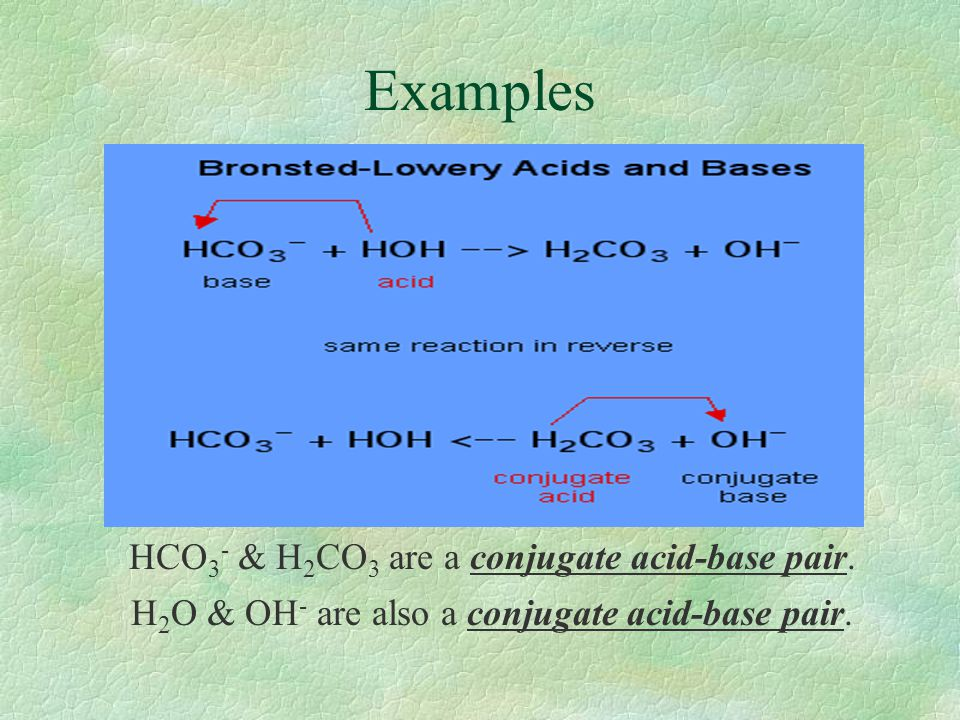 Examples HCO3- & H2CO3 are a conjugate acid-base pair.