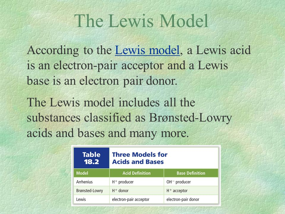 The Lewis Model According to the Lewis model, a Lewis acid is an electron-pair acceptor and a Lewis base is an electron pair donor.