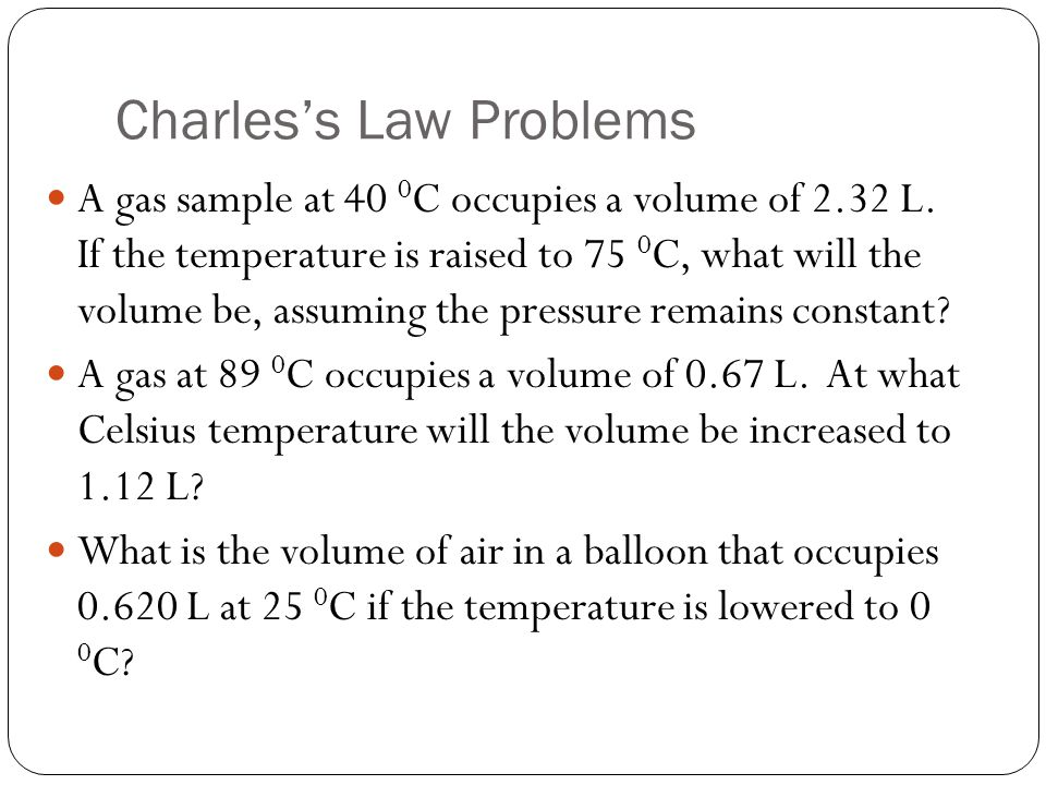 Charles's Law Problems