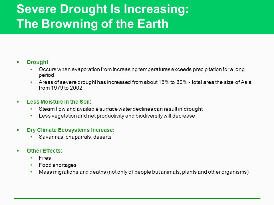 Severe Drought Is Increasing: The Browning of the Earth