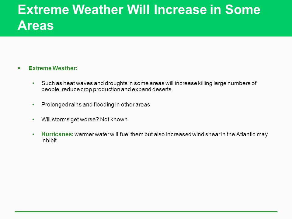 Extreme Weather Will Increase in Some Areas