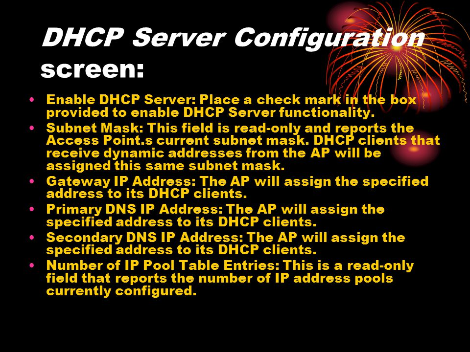 DHCP Server Configuration screen: