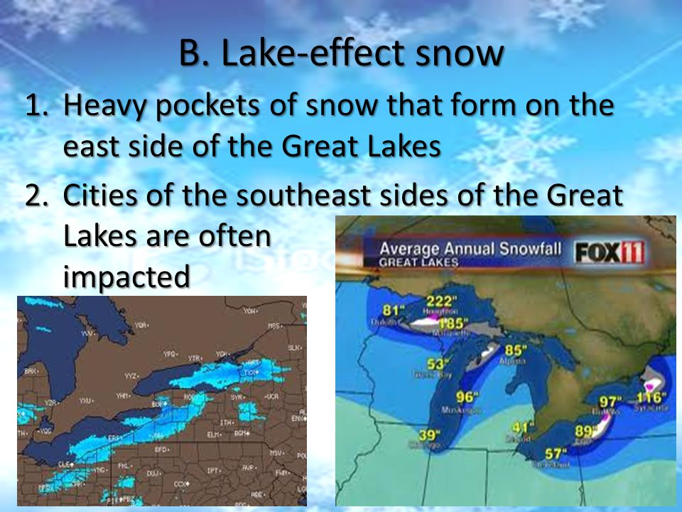 B. Lake-effect snow Heavy pockets of snow that form on the east side of the Great Lakes.