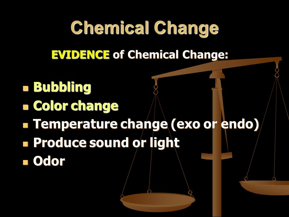 Chemical Change Bubbling Color change Temperature change (exo or endo)