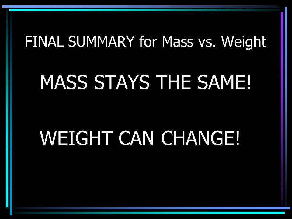 FINAL SUMMARY for Mass vs. Weight