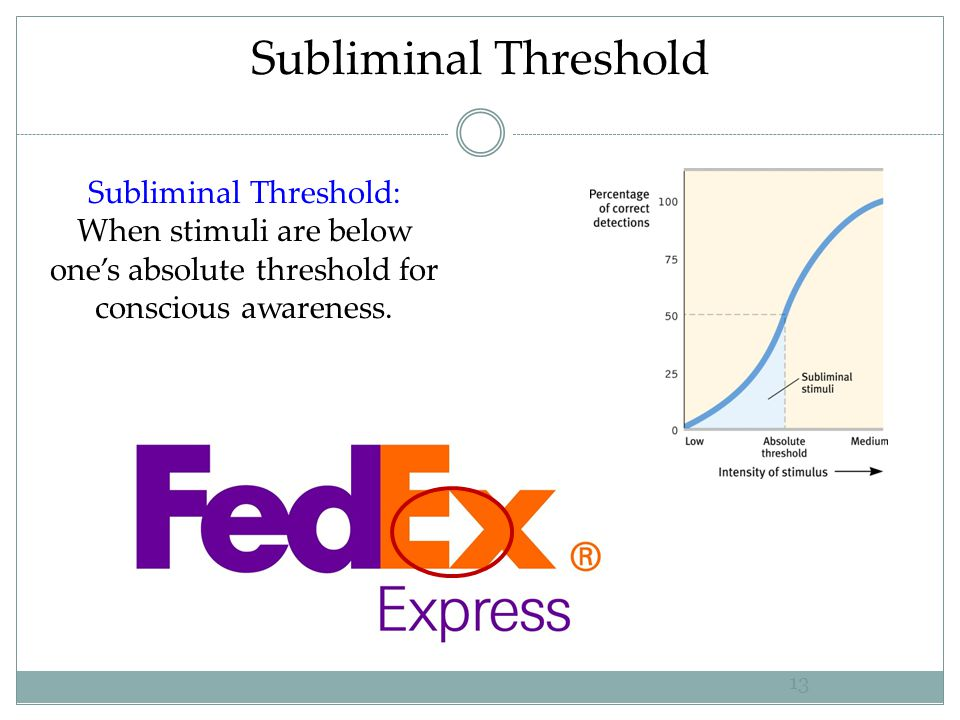 Subliminal Threshold Subliminal Threshold: When stimuli are below one's absolute threshold for conscious awareness.