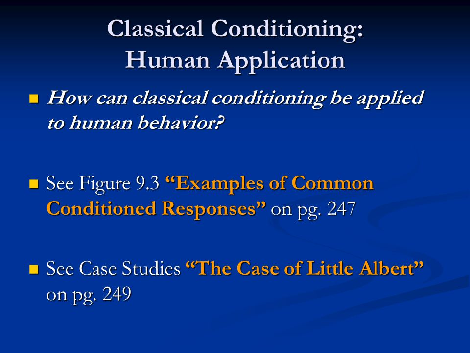 Classical Conditioning: Human Application