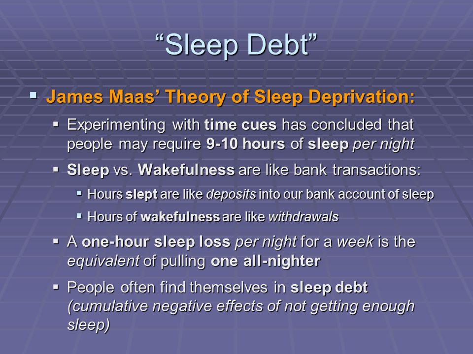 Sleep Debt James Maas' Theory of Sleep Deprivation: