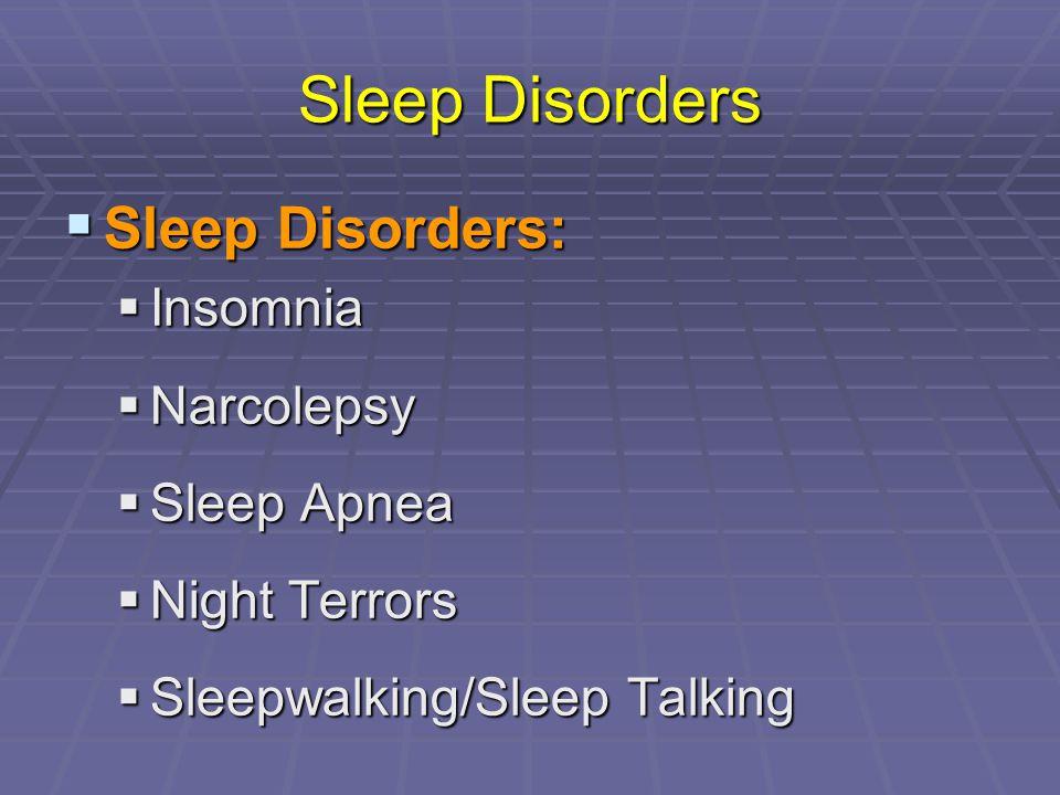 Sleep Disorders Sleep Disorders: Insomnia Narcolepsy Sleep Apnea