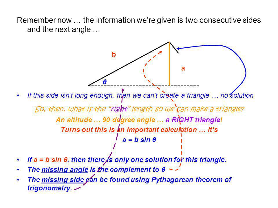 Remember now … the information we're given is two consecutive sides and the next angle …