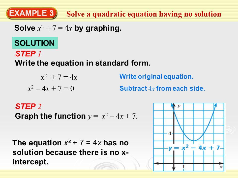 Solve a quadratic equation having no solution