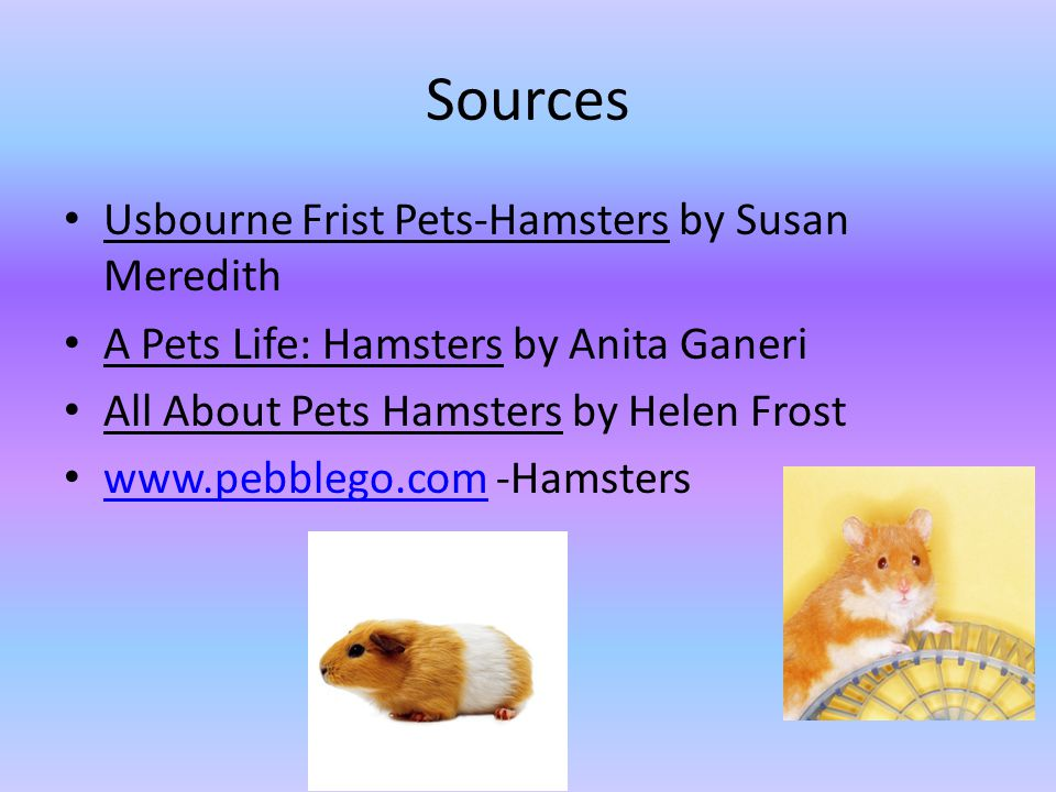 Sources Usbourne Frist Pets-Hamsters by Susan Meredith