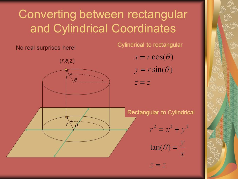 Converting between rectangular and Cylindrical Coordinates