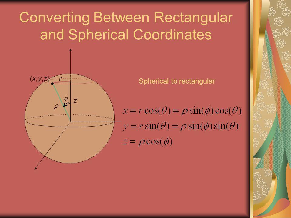 Converting Between Rectangular and Spherical Coordinates