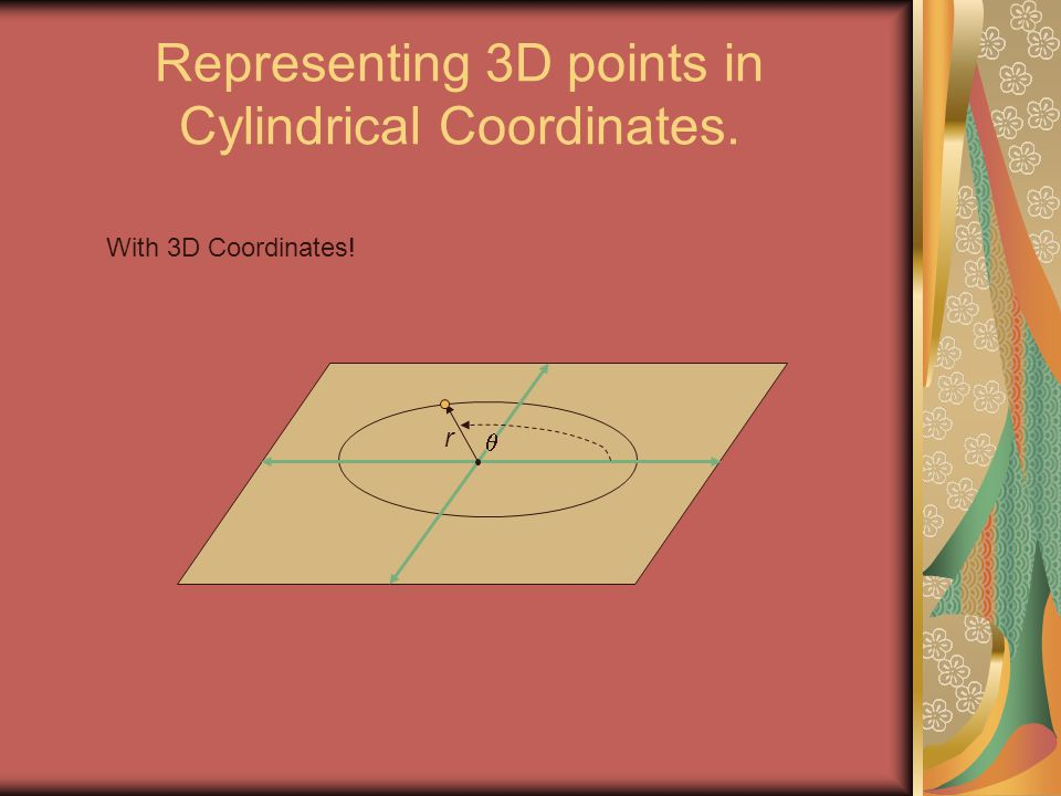 Representing 3D points in Cylindrical Coordinates.