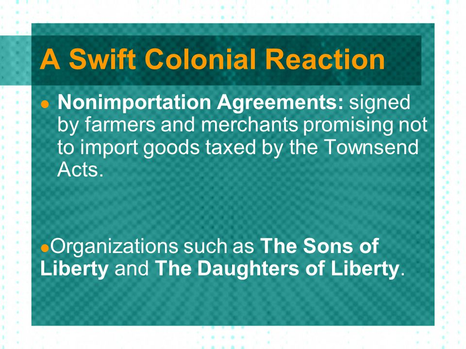 A Swift Colonial Reaction
