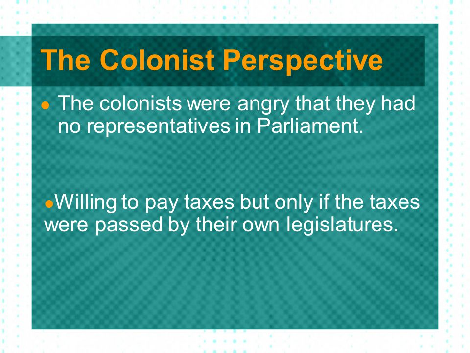 The Colonist Perspective