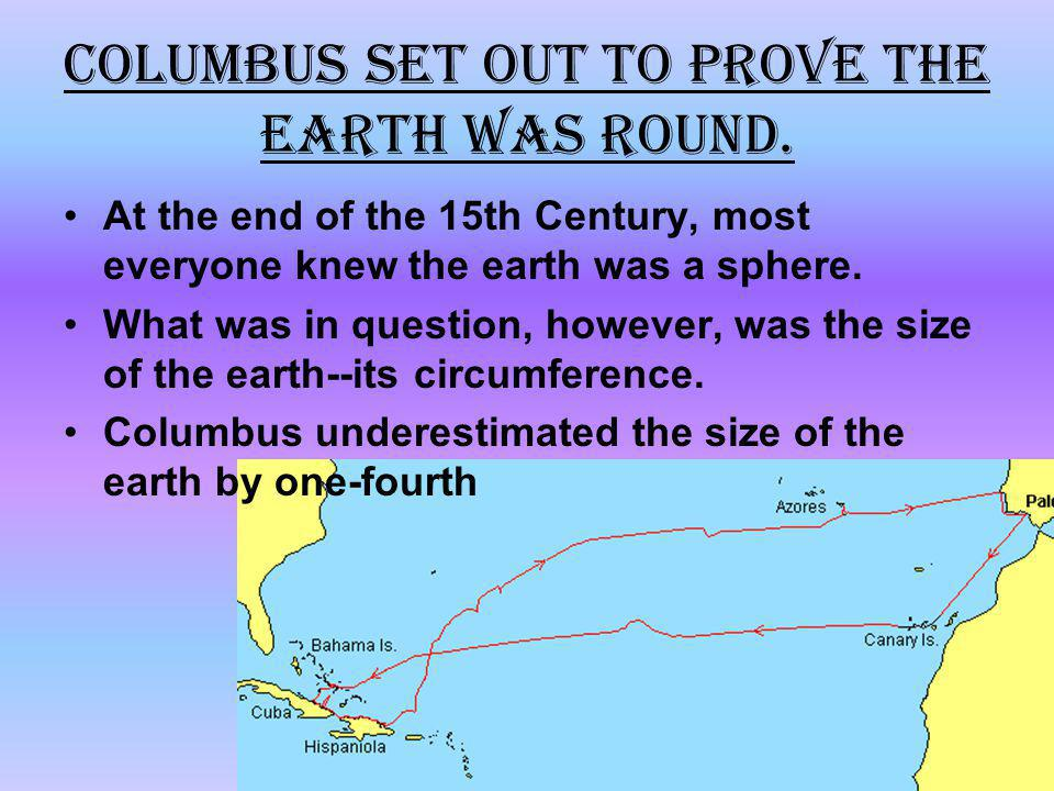 Columbus set out to prove the earth was round.