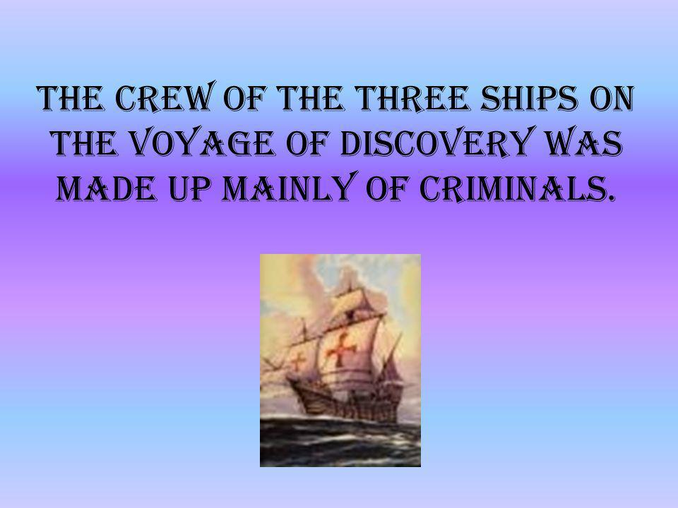 The crew of the three ships on the voyage of discovery was made up mainly of criminals.