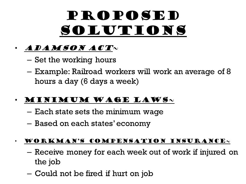 Proposed solutions Set the working hours