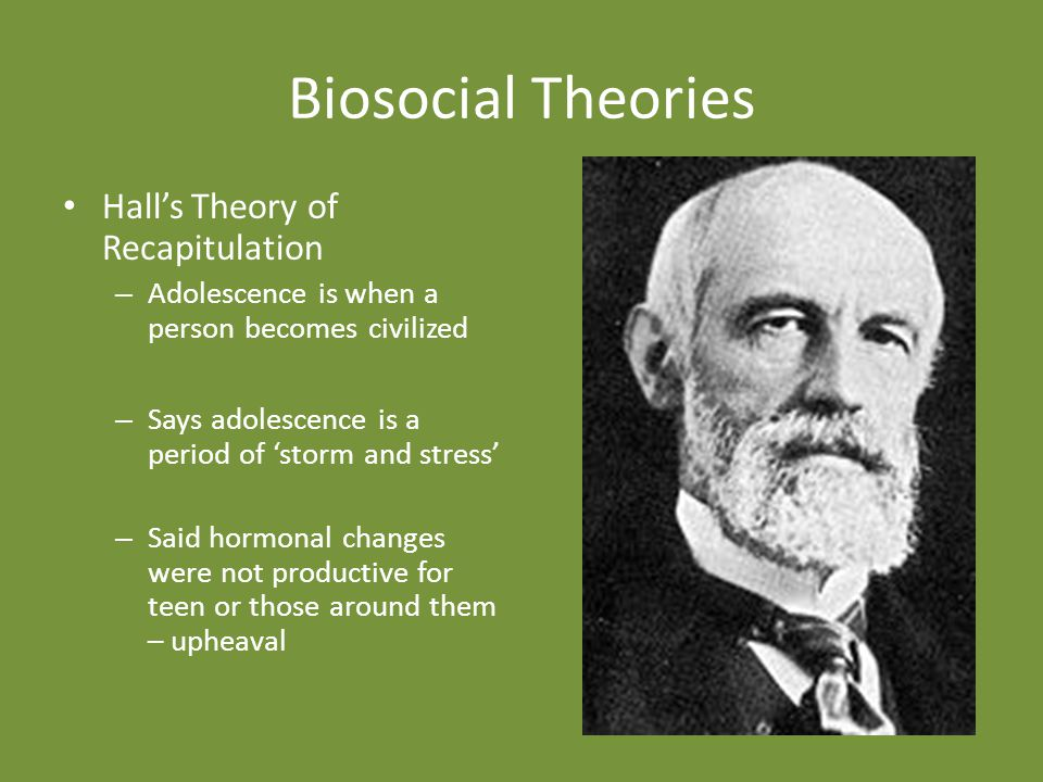 Biosocial Theories Hall's Theory of Recapitulation