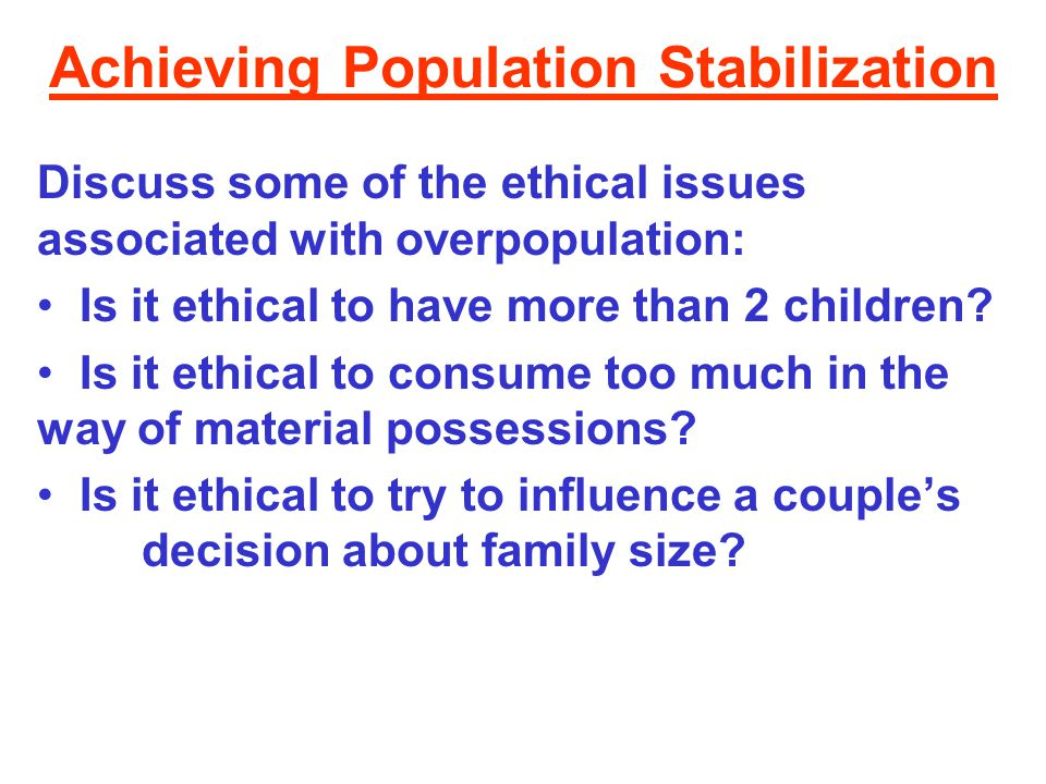 Achieving Population Stabilization