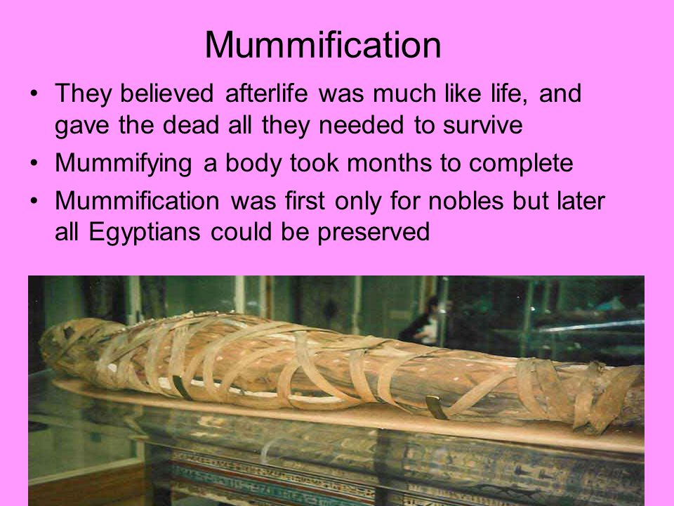 Mummification They believed afterlife was much like life, and gave the dead all they needed to survive.