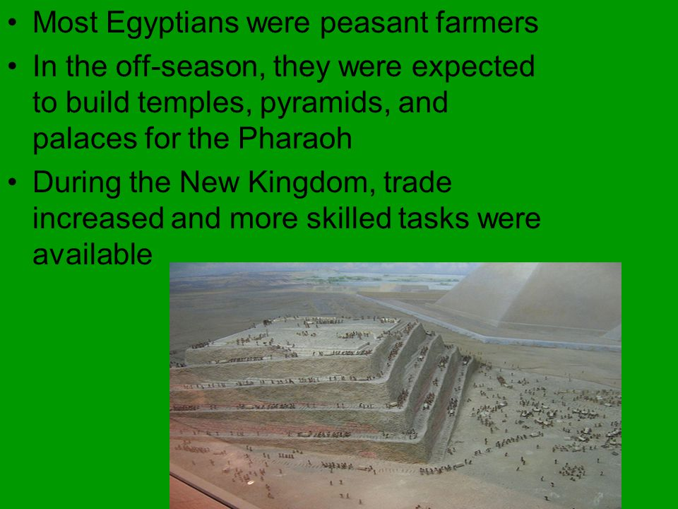 Most Egyptians were peasant farmers