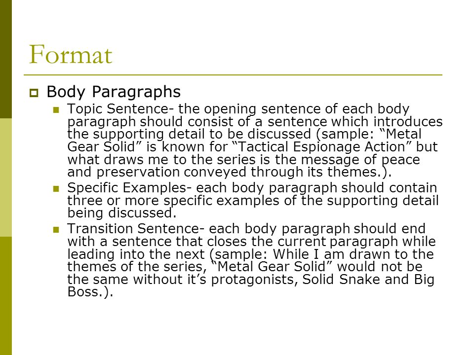 Format Body Paragraphs