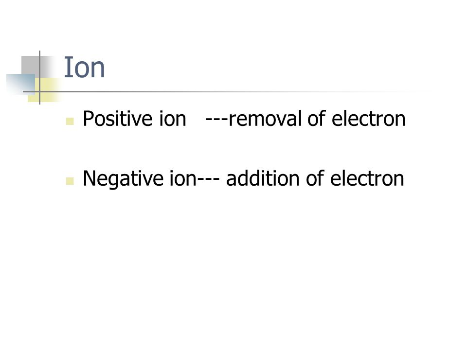 Ion Positive ion ---removal of electron