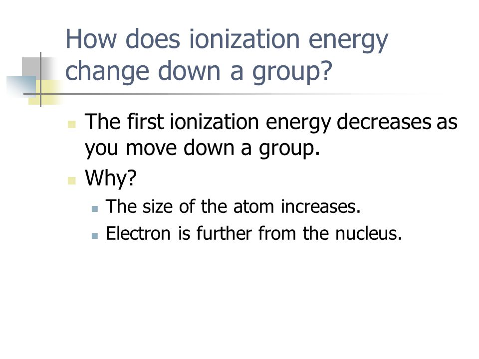 How does ionization energy change down a group
