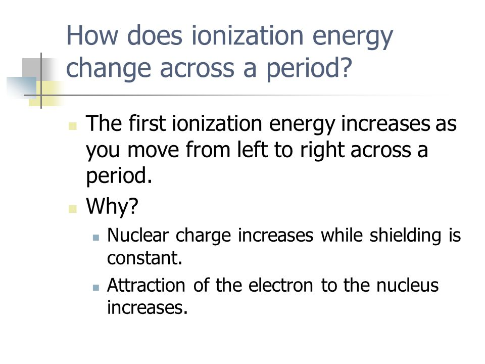 How does ionization energy change across a period