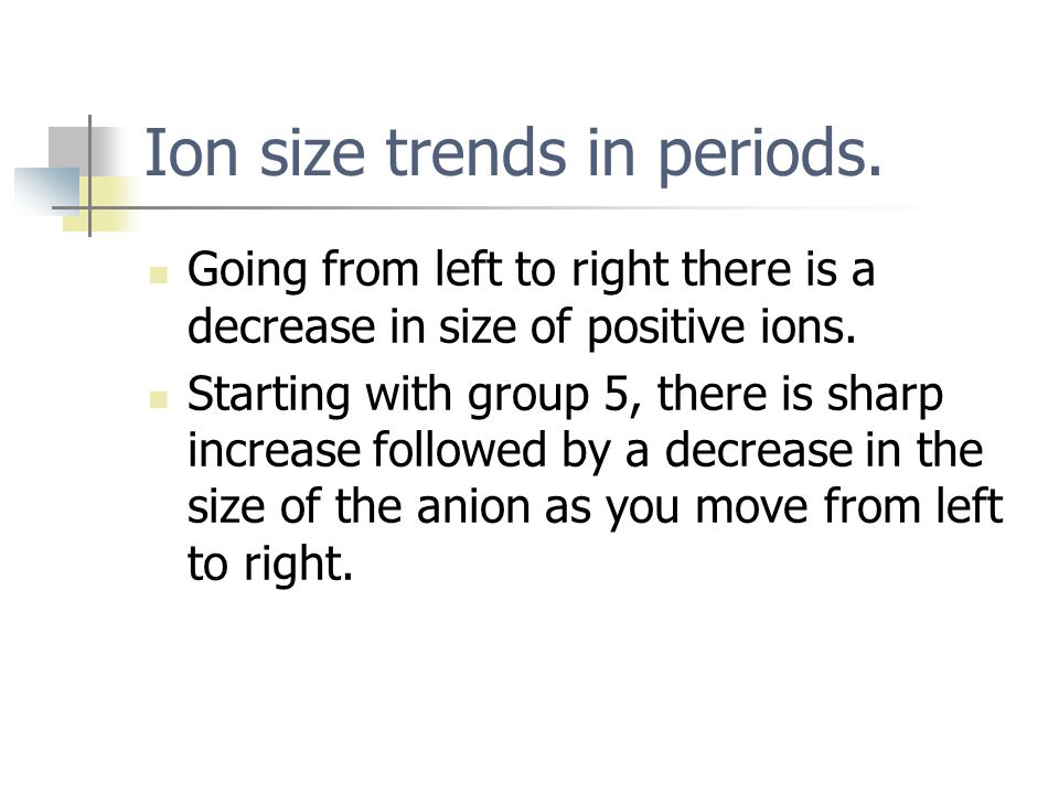 Ion size trends in periods.