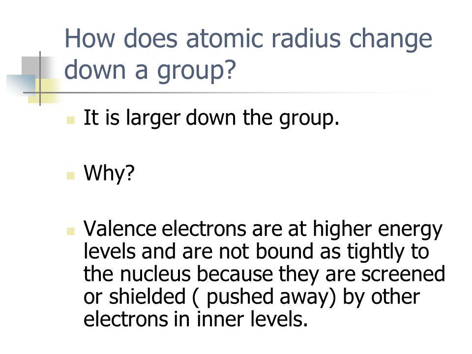 How does atomic radius change down a group