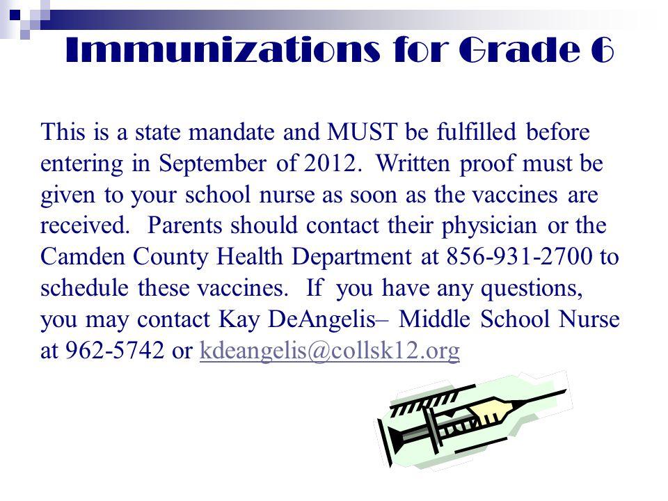 Immunizations for Grade 6