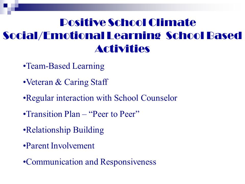 Positive School Climate Social/Emotional Learning School Based Activities