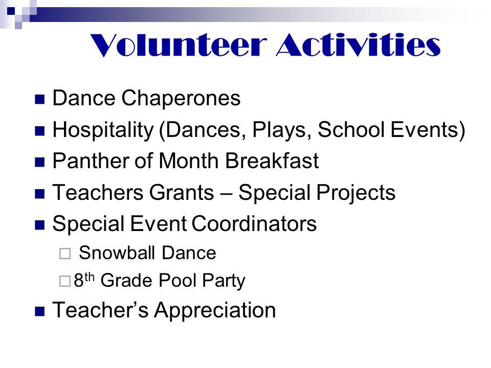 Volunteer Activities Dance Chaperones