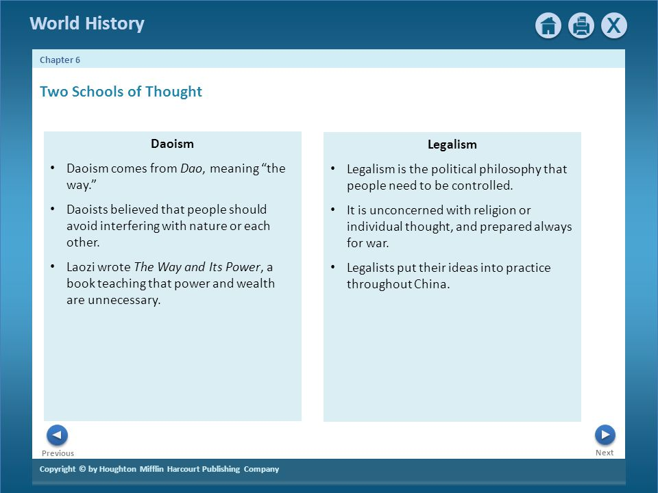 Two Schools of Thought Daoism Legalism