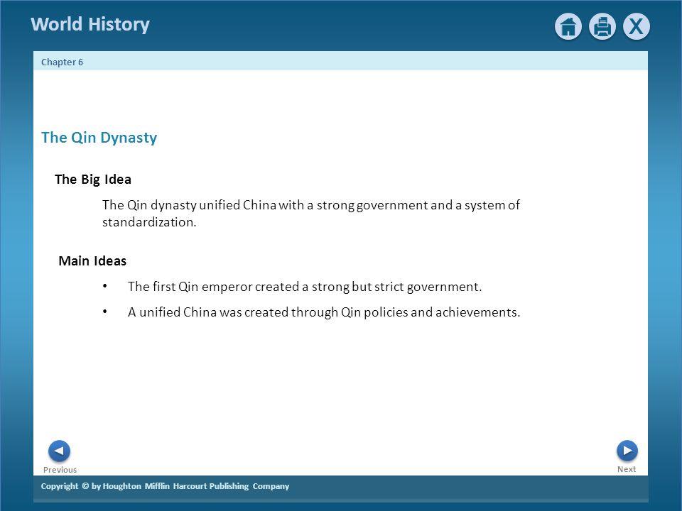 The Qin Dynasty The Big Idea Main Ideas