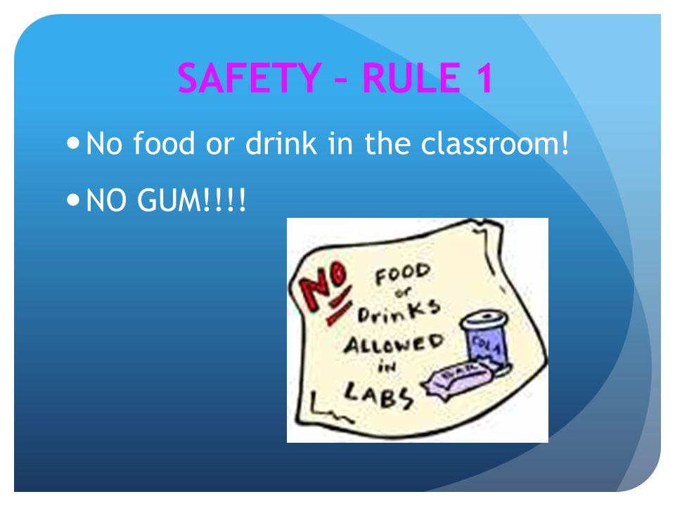 SAFETY – RULE 1 No food or drink in the classroom! NO GUM!!!!