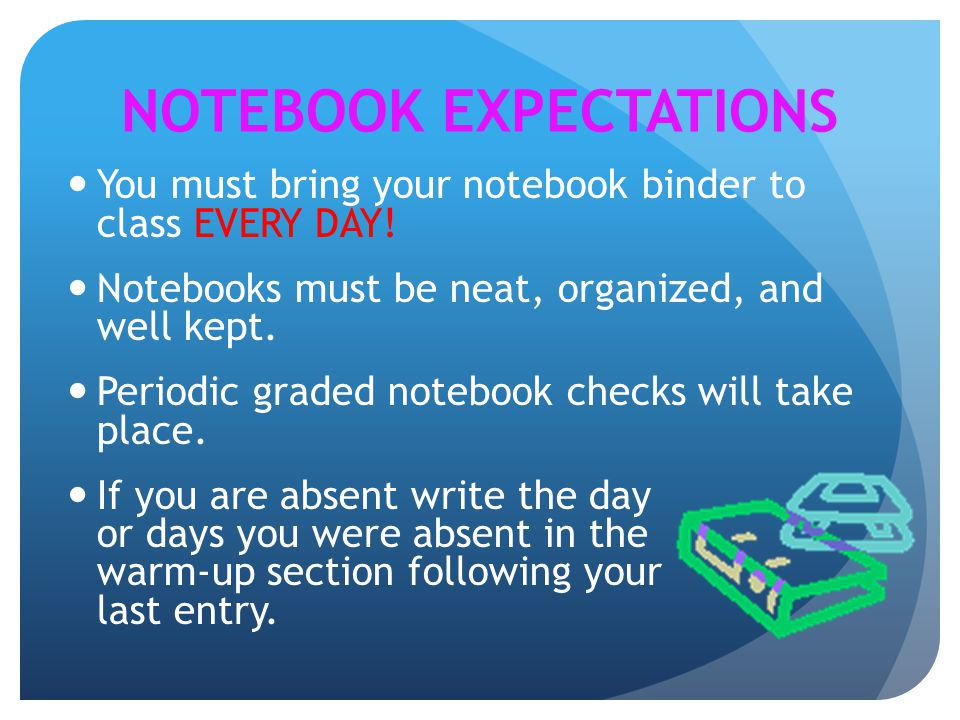 NOTEBOOK EXPECTATIONS