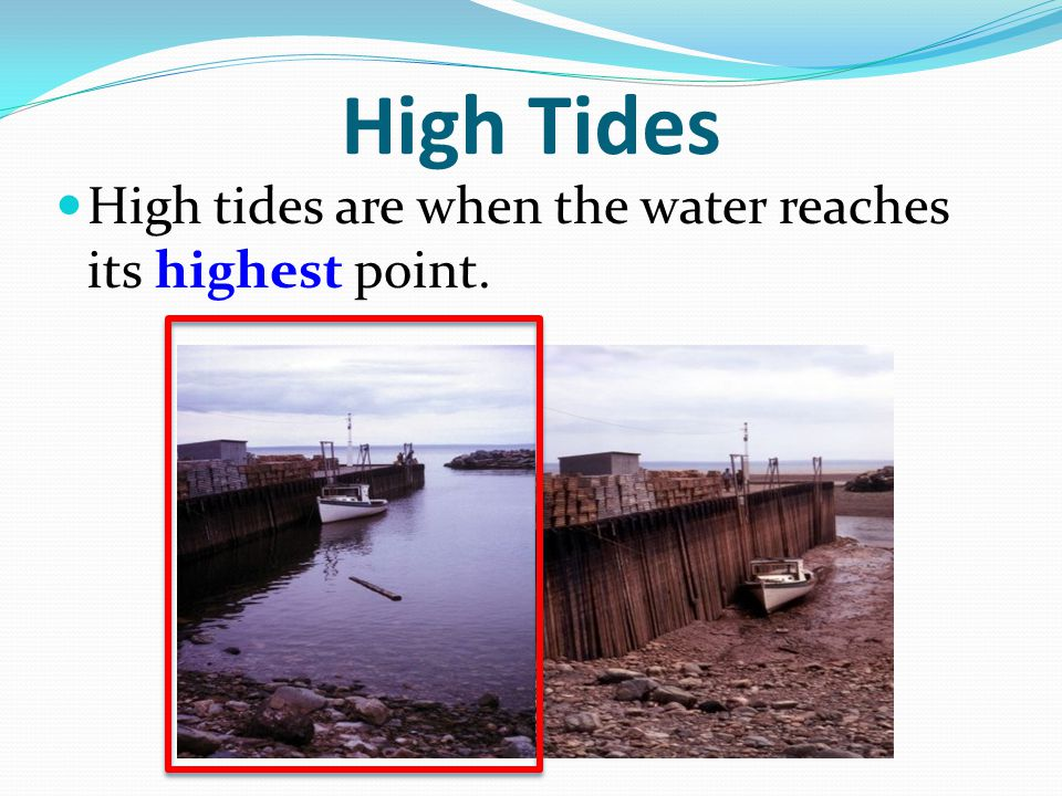 High Tides High tides are when the water reaches its highest point.
