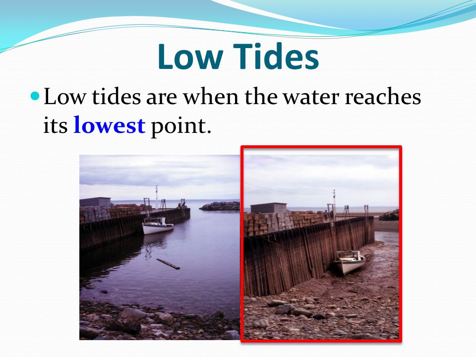 Low Tides Low tides are when the water reaches its lowest point.
