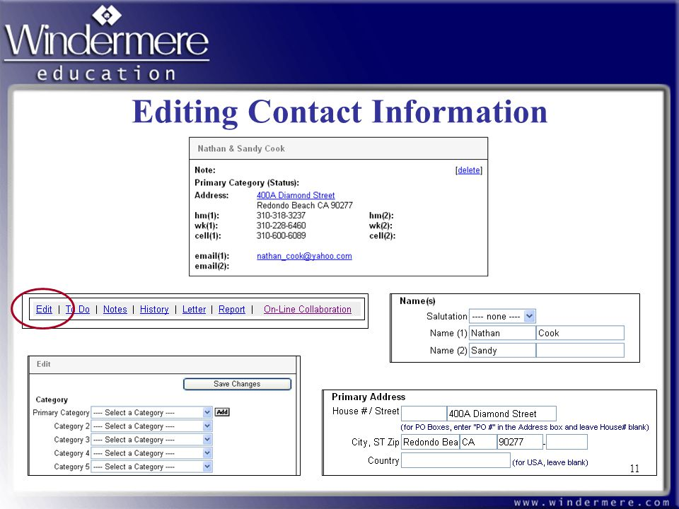 Editing Contact Information 11