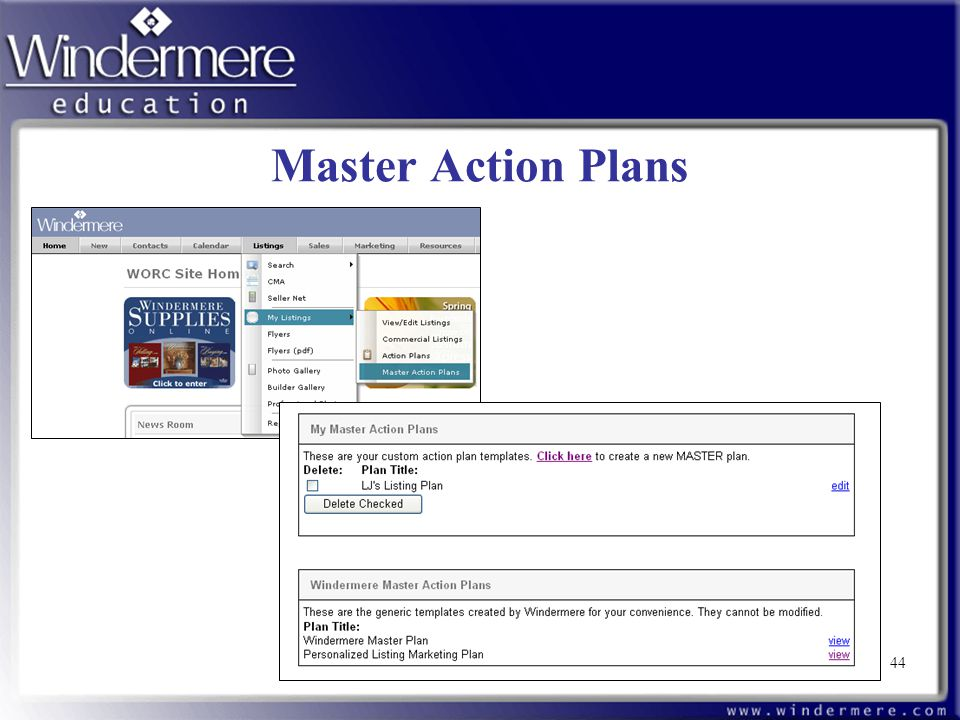 Master Action Plans 44