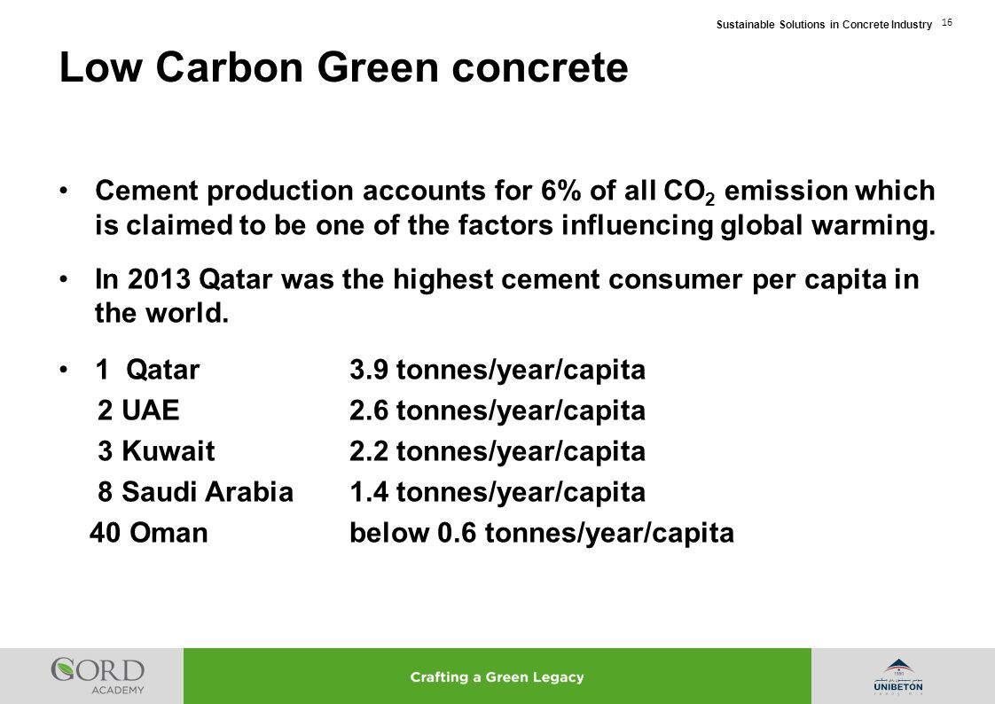 Low Carbon Green concrete
