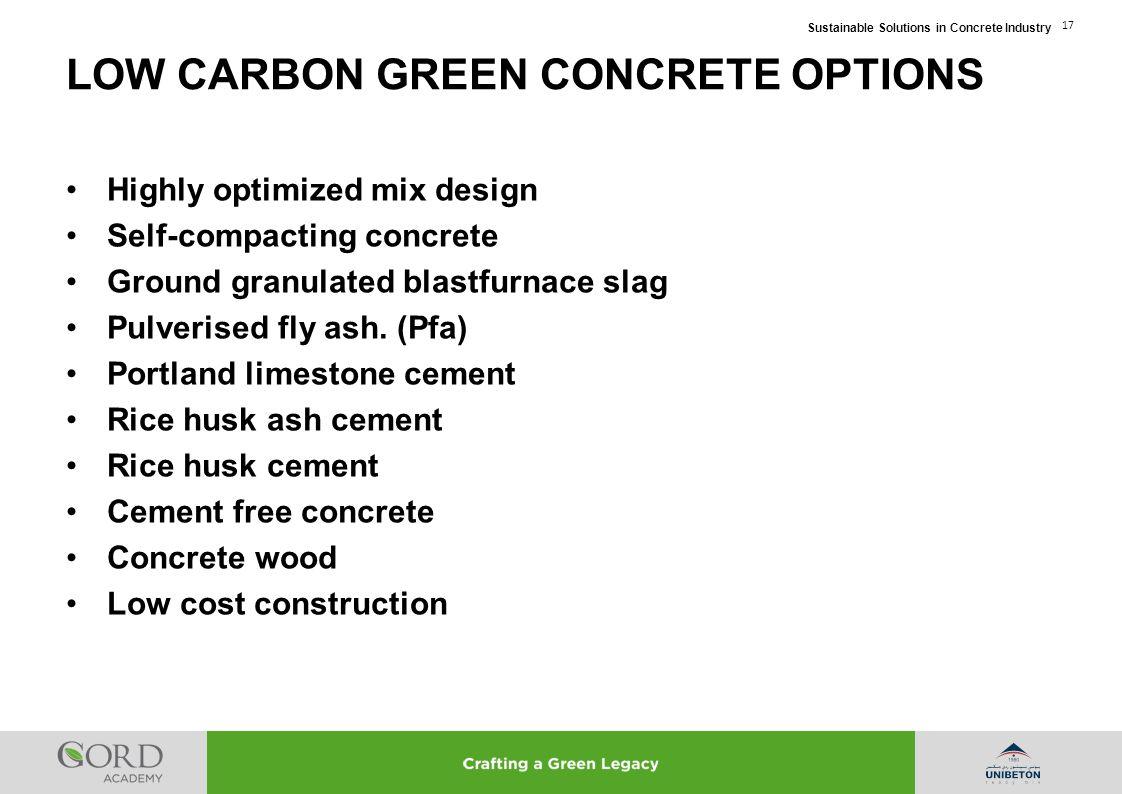 LOW CARBON GREEN CONCRETE OPTIONS