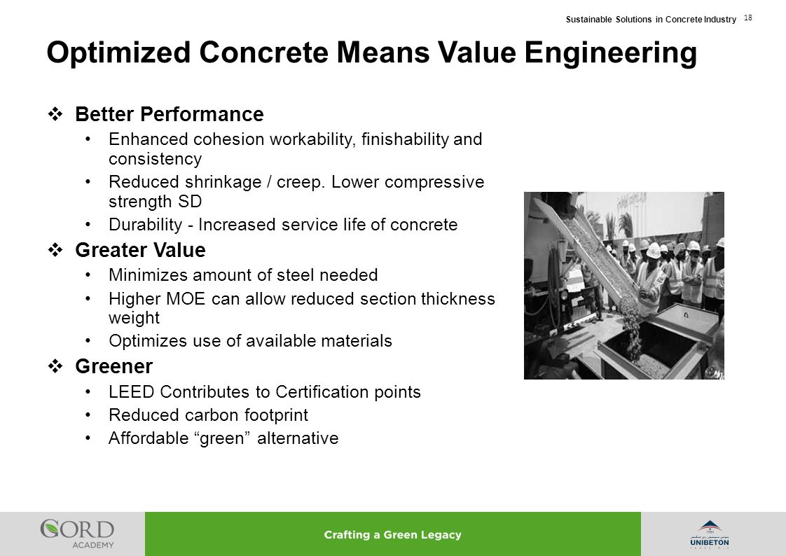 Optimized Concrete Means Value Engineering